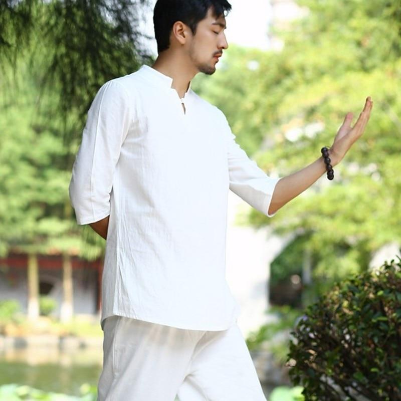 Summer Loose Fit Vintage Meditation Kung Fu Tracksuit Men Breathable Cotton Linen 2pcs Jogging Set Casual Outfits Clothes Suits