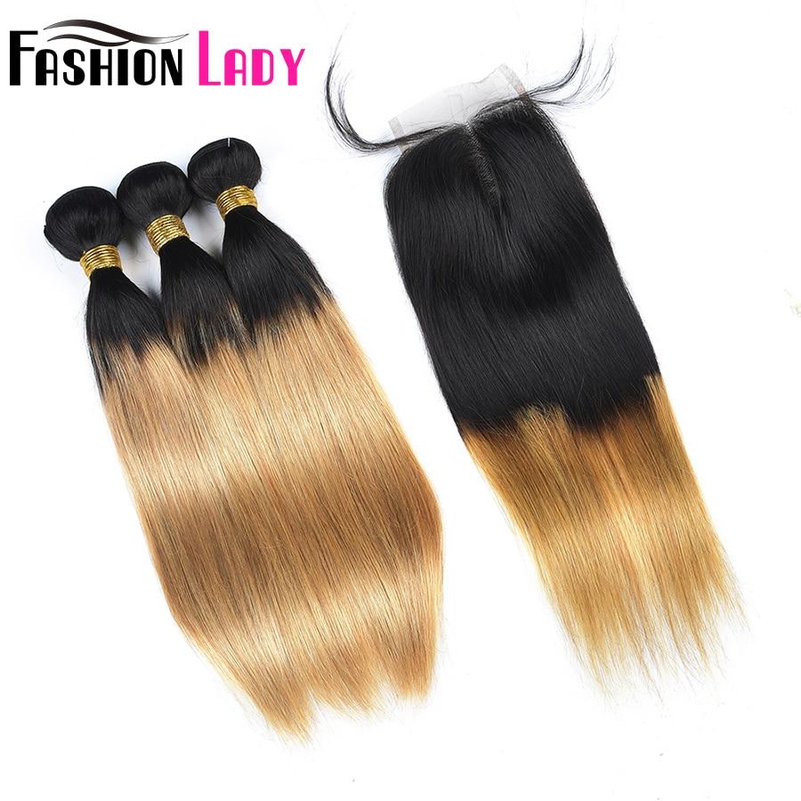 Модные женские предварительно Цветной Ombre перуанский прямые T1B/27 3 предмета человеческих волос пучки с закрытием 4x4 средняя часть non-реми