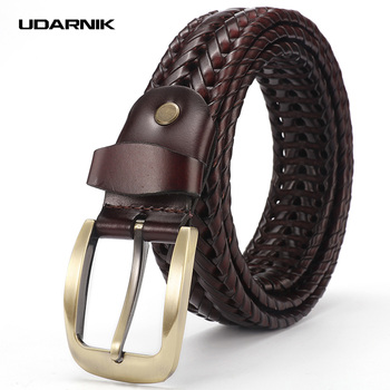 Braided Leather Belt Belt Men Casual Formal Work Pin Buckle Waistband Strap Luxury Fashion 110-120cm Two Colors 200-175