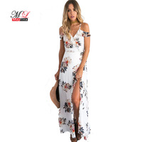 Fitaylor 2017 Fashion Sexy Spaghetti Strap Medium Long Floral Backless Dress Beach Casual Bohemian Mujer Print