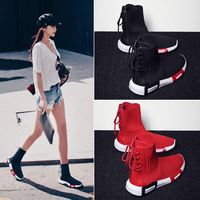 2018autumn new socks shoes women high to help stretch Korean version of the street shooting ulzzang wild breathable sports shoes