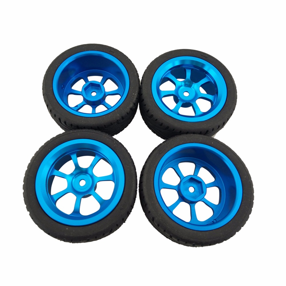 4pcs Alloy Rims & Tires RC Car Wheels for 1/18 WL Toys A949 A959 A969 A979 K929 A959-b A969-b A979-b K929-b free shipping a949 57 wl toys a949 a959 a969 1 18 rc truck rc car parts 2 4g radio controller remove controller transmitter
