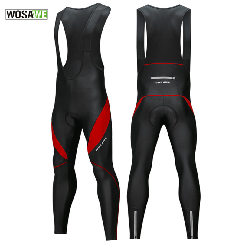 Winter Fleece Men's Cycling Pants With Bib Warm Reflective MTB Bicycle Cycle Tights Trousers Bike MTB Pants With 3D Gel Padded