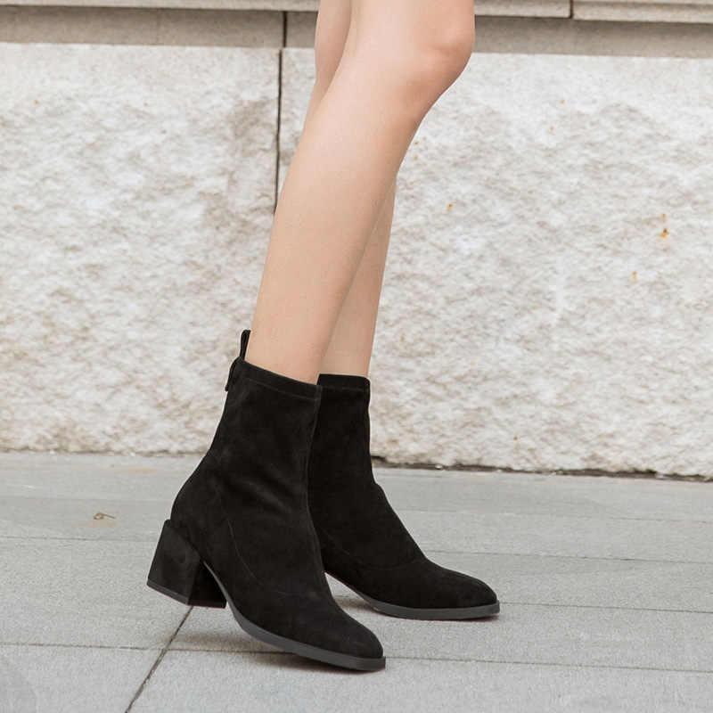 BeauToday Elastik Ayak Bileği Çorap Marka Yeni Kare Ayak Streç Kumaş Sonbahar Kış yüksek topuklu bayan ayakkabısı El Yapımı 03356