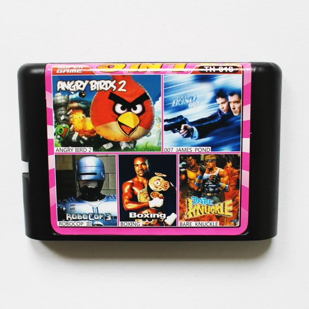 TH018 5 in 1 game cartridge 16 bit md Multi game card for sega genesis/mega drive