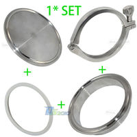 1set 304 316 Stainless Steel SS304 SS316 Sanitary 4 4 Inch End Cap + 4 Weld on Ferrule + 4 PTFE Gasket + 4 Tri Clamp