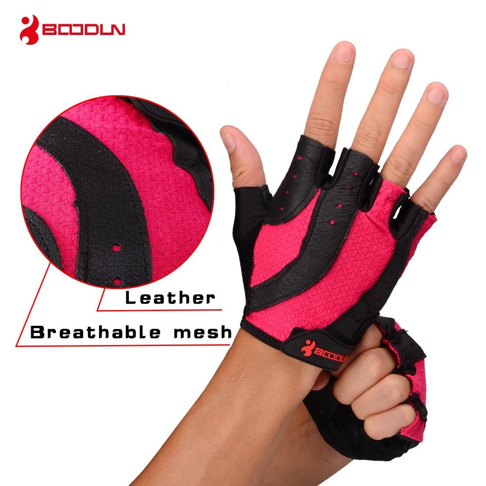 Boodun Brand Sports Gloves Weight Lifting Ladies Genuine Leather Summer Half Finger Gym Glove Women Exercise Fitness Gloves