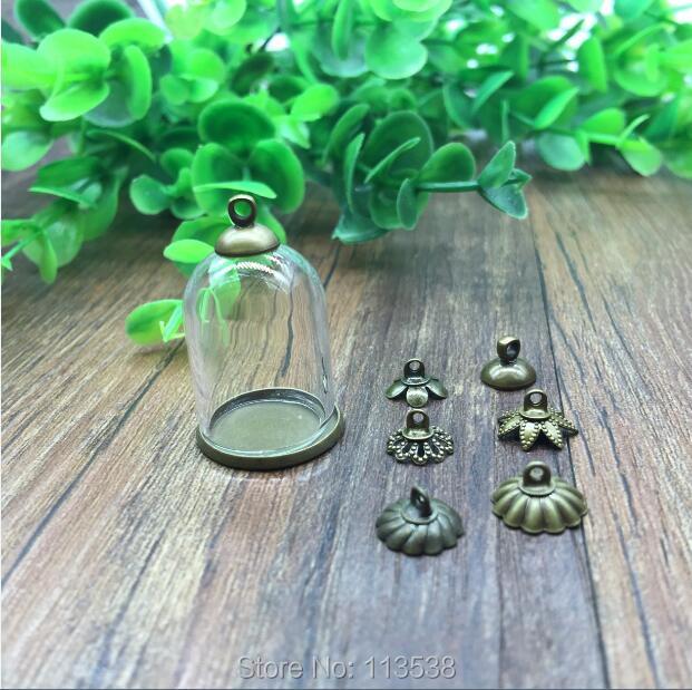 100sets/lot 25*18mm Tube Glass Globe Ordinary Antique Bronze Color Base Beads Cap Set Glass Vial Bottle Pendant Jewelry Findings