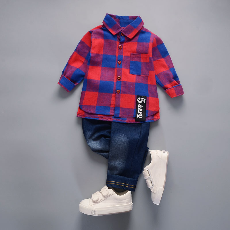 Children clothes Cotton plaid T-Shirt +denim Pants 2 Pcs Sport Suit kids clothes boys Set casual spring toddler outfits Costumes Boy Kids cb5feb1b7314637725a2e7: Green|Red|White