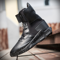 New Men Casual Shoes Soft Leather Men High Top Shoes Fashion Lace Up Breathable Hip Hop