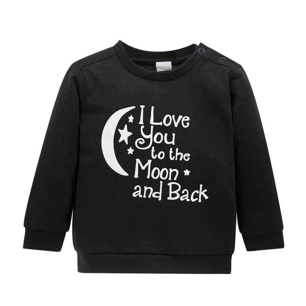 רך כותנה אופנתי תינוק פעוט תינוק בני בנות ברדס O-צוואר ארוך שרוול בגדי תינוקות מכתב חולצה נים חולצות