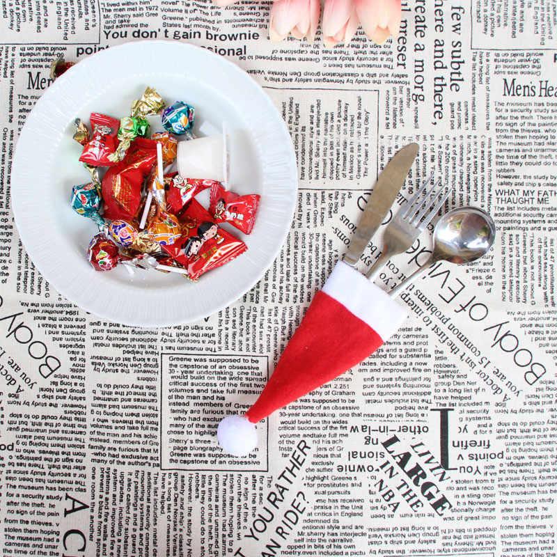 1 шт. рождественские шляпы со столовыми приборами, подарочные сумки, милые карманные вилки, нож, контейнер для сладостей, настольные украшения для ужина Sombrero de navidad * 0