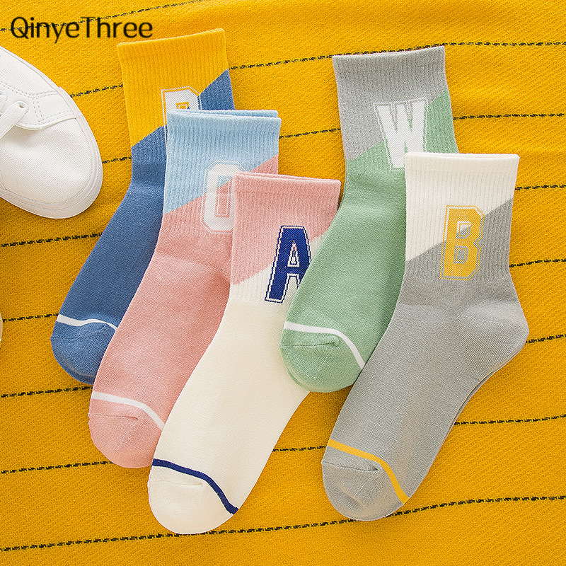 New Fashion Girl's Cotton Stitching Color Letter With Stripe Pattern Casual Socks Harajuku Cute Calcetines Hipster Tube Sock