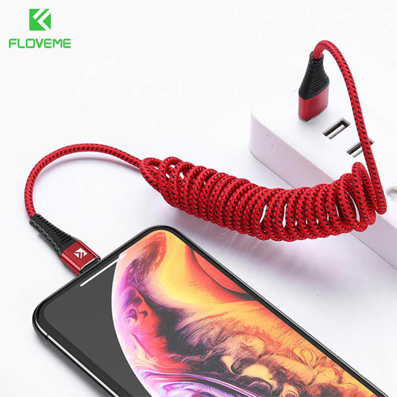 Cable USB de resorte FLOVEME para iPhone XS MAX XR X Cable De Carga Rápida de datos de nailon para iPhone iPad Cable de Cable cargador de teléfono