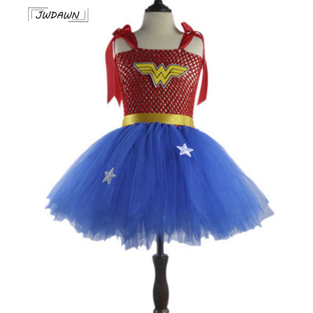 Wonder Woman Superhero Kids Cosplay Costume Halloween Dress Super Cute Dress Girls Clothes Supergirl Costume Vestidos 3-8Y