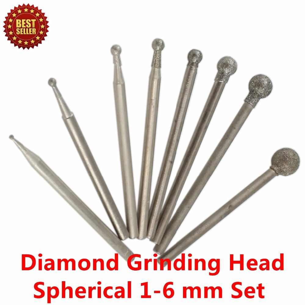 v/ástago de 1//8 pulgada cabeza de 6 mm herramientas rotativas 2pcs sourcing map Puntos montados en diamante rectificado