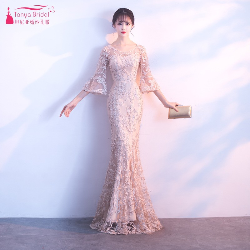 TANYA Champagne Long Evening Dresses 2019 Half Flare Sleeves Lace Formal Women Lady Gown Real Dress Photo JQ273