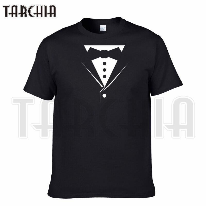 TARCHIA 2018 estate collare di Falsificazione t-shirt di marca Tuxedo  cotone tops t-shirt manica corta ragazzo casuale homme tshirt t più moda 5b63674d0f5