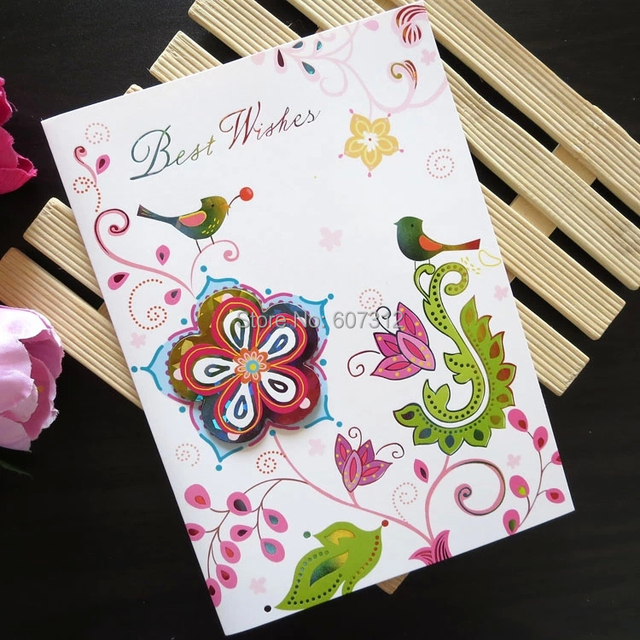 Three Dimensional DIY Flower Mothers Birthday Card Day Cards For Mother Best Gift Free Shipping HK02