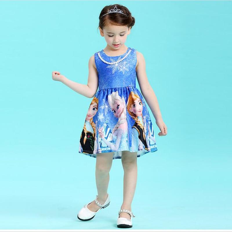 все цены на Elsa Dress For Girl Cute Sundress Forzen Princess Dresses For Wedding Party Dress Costume For Kids Girl New Year Cartoon Dresses