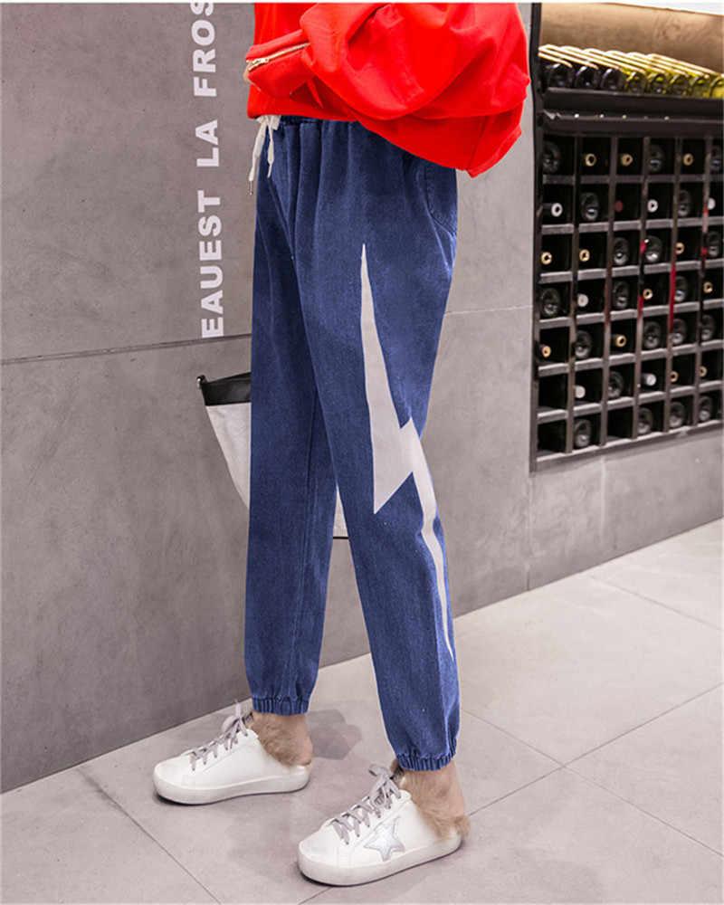 Фото Женские штаны с эластичной молнией принтом талии шаровары на завязке новинка 2019
