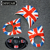 DSYCAR 3pcs/set Car Styling Car Steering Wheel Logo Emblems Sticker Cover For BMW Mini Multi-function Buttons Model Accessories