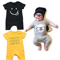 Baby Boys Cotton Cartoon Rompers Girls Romper Letter Infant Summer Short Sleeve 2017 New Arrival Children Jumpsuit Baby Clothes