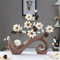 European Nordic Ceramic Desk Tabletop Vase Ikebana Ornaments Handmade White Artificial Dried Flower Home Furnishing Decro
