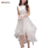 Vancol 2017 Summer Cute Voile Party Dress Maxi Wedding Party Women O Neck Sleeveless Lace Vintage