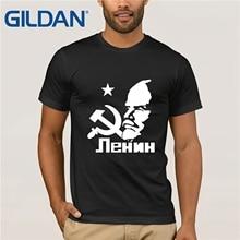 GILDAN New Soviet Union The Great Communist Lenin T Shirts Mens Short Sleeve T-Shirt USSR CCCP Communism Cotton Tops