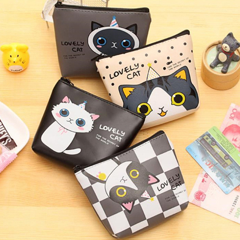 Kawaii Cartoon Kids Girls Mini coin purse wallet women small PU Leather Cat Key holders Pouch Zipper Purses Wallets Bag cute cartoon camera women coin purse ladies leather coin pouch bag kawaii mini wallet small purse zipper key storage bag