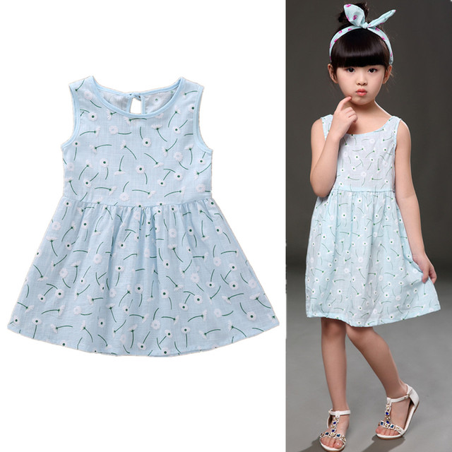 1-7 Years Kids Girl Sling Dresses Summer Chidlren Clothes Toddler Girls Dress Baby Cotton Sleeveless Print Flower Princess Dress 5