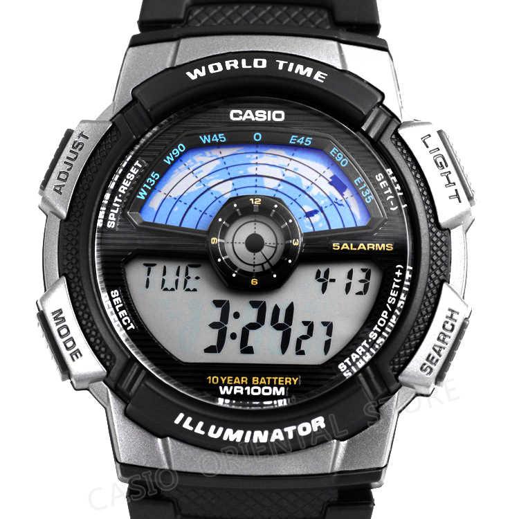CASIO Watch 2017 AE-1100W-1A Цифровой Мужчины Лучшие Продажи Силиконовый Ремешок Мужчины Спортивные Часы Водонепроницаемые Relogio Masculino Плавать Вселенной Время