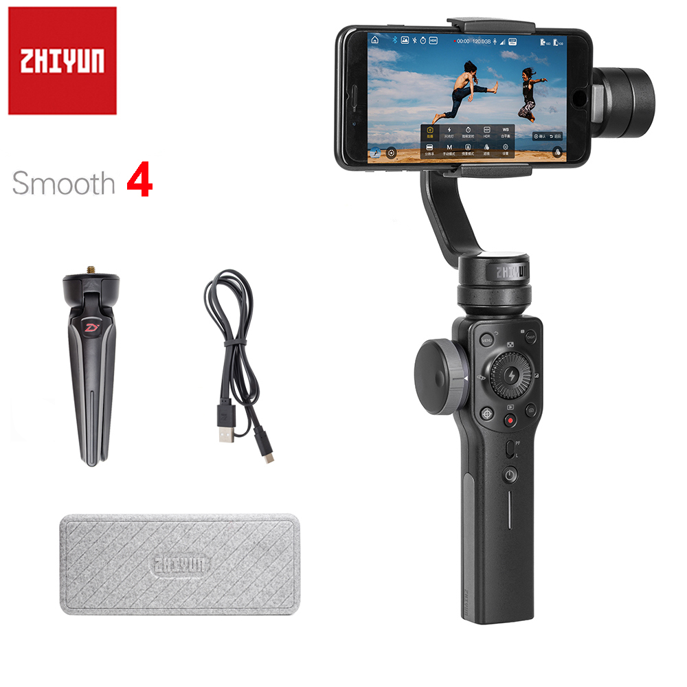 Zhiyun Smooth 4 3-Axis Handheld Gimbal Stabilizer Smartphone untuk iPhone X 8Plus 8 7Plus 7 6S Samsung S9 + S9 S8 S7 PK Smooth Q