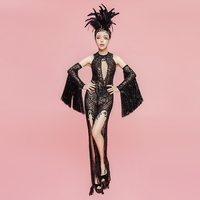 Sparkly Sequin Jumpsuit Black Sexy See through Set Women's Birthday Party Three piece Costume Female Singer Tassel Sleeve Ouffit