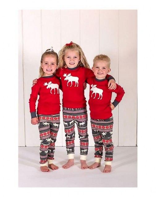 d5cc42abe1 Kids Xmas autumn winter Pajamas warm Sleepwear Santa Deer Christmas print  sleepwear 2pcs Set