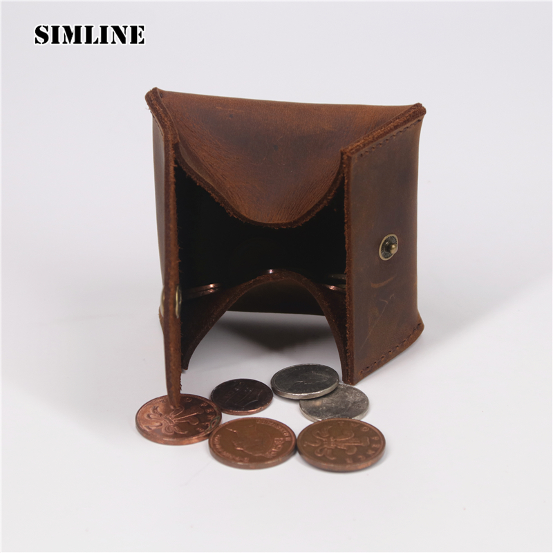 SIMLINE New Genuine Cow Leather Coin Purse Holder Case Bag Men Women Vintage Handmade Crazy Horse Cowhide Mini Small Wallet Male men wallet male cowhide genuine leather purse money clutch card holder coin short crazy horse photo fashion 2017 male wallets