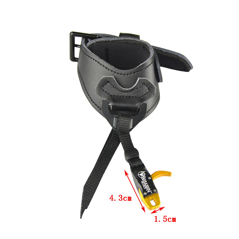 Image 2 - Archery Compound Bow Releases CNC Aluminum Alloy+Cowhide Wristband Camping Practicing Shooting Hunting Bow And Arrow Accessories-in Bow & Arrow from Sports & Entertainment