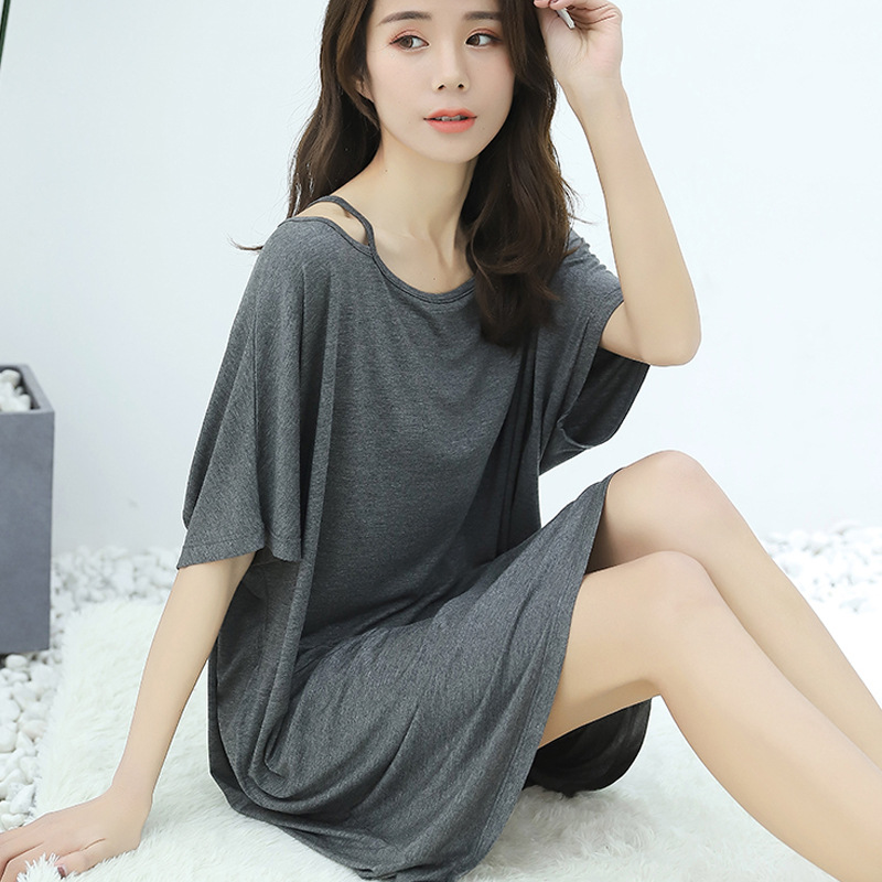 2019 summer new large size nightdress modal cotton long off-the-shoulder short-sleeved dress sleepdress   nightgowns     sleepshirts