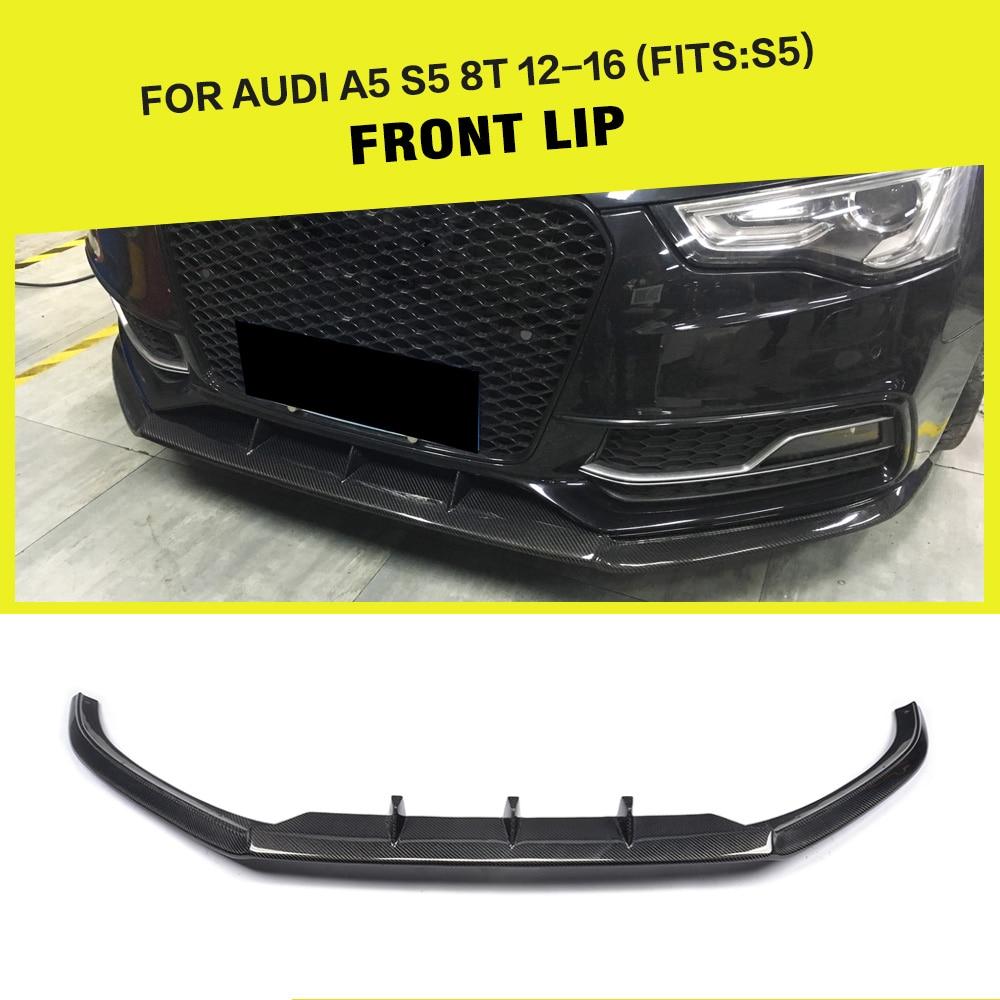 Fibra de carbono/FRP Car Racing Avental Divisores Front Bumper Lip Spoiler para Audi Sline A5 S5 Sedan Coupe Convertible 2012-2016