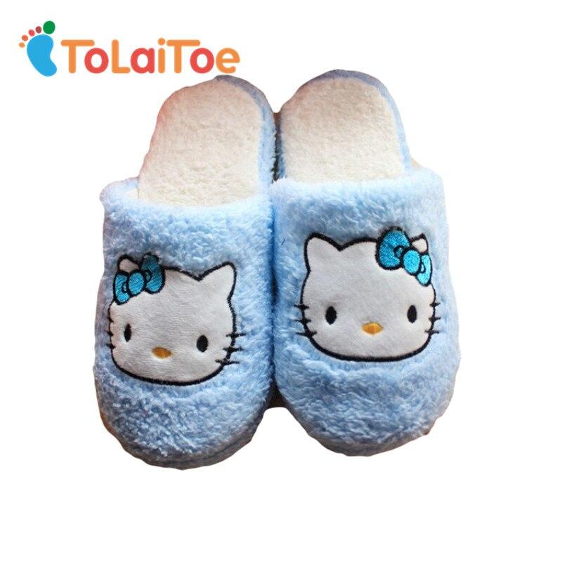 ToLaiToe Zapatillas de algodón de dibujos animados rosa/azul holle gatito suave suela de calor del invierno mujeres más terciopelo grueso algodón zapatillas antideslizantes