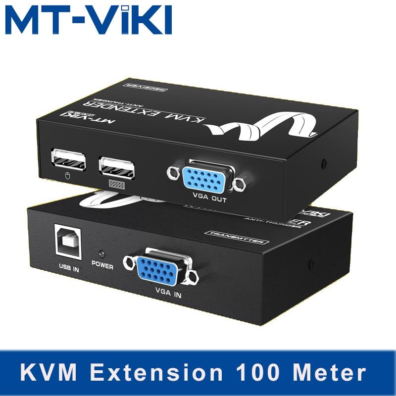 MT Viki KVM Extension 100M Keyboard Video Mouse Repeater Adapter VGA USB Extender via UTP CAT