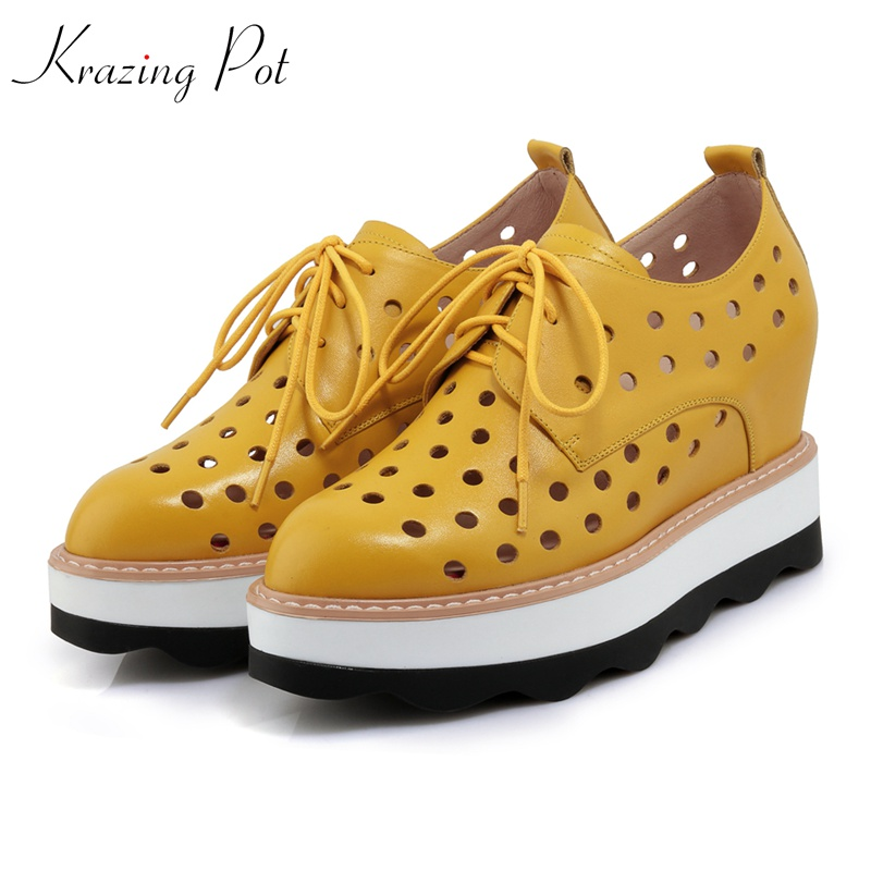 Krazing Pot cow hollywood star shoes women round toe women platform pumps lace up wedges breathable increased hollow shoes L36 krazing pot 2018 cow leather simple design breathable high heels hollow women pumps round toe brown white color brand shoes l92