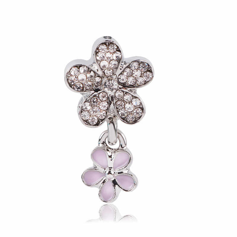Ranqin 2019 New Original Retro Silver Snow Beads Potted Key Mickey Pendant Series Fit Women Charms Bracelets DIY Women Jewerly