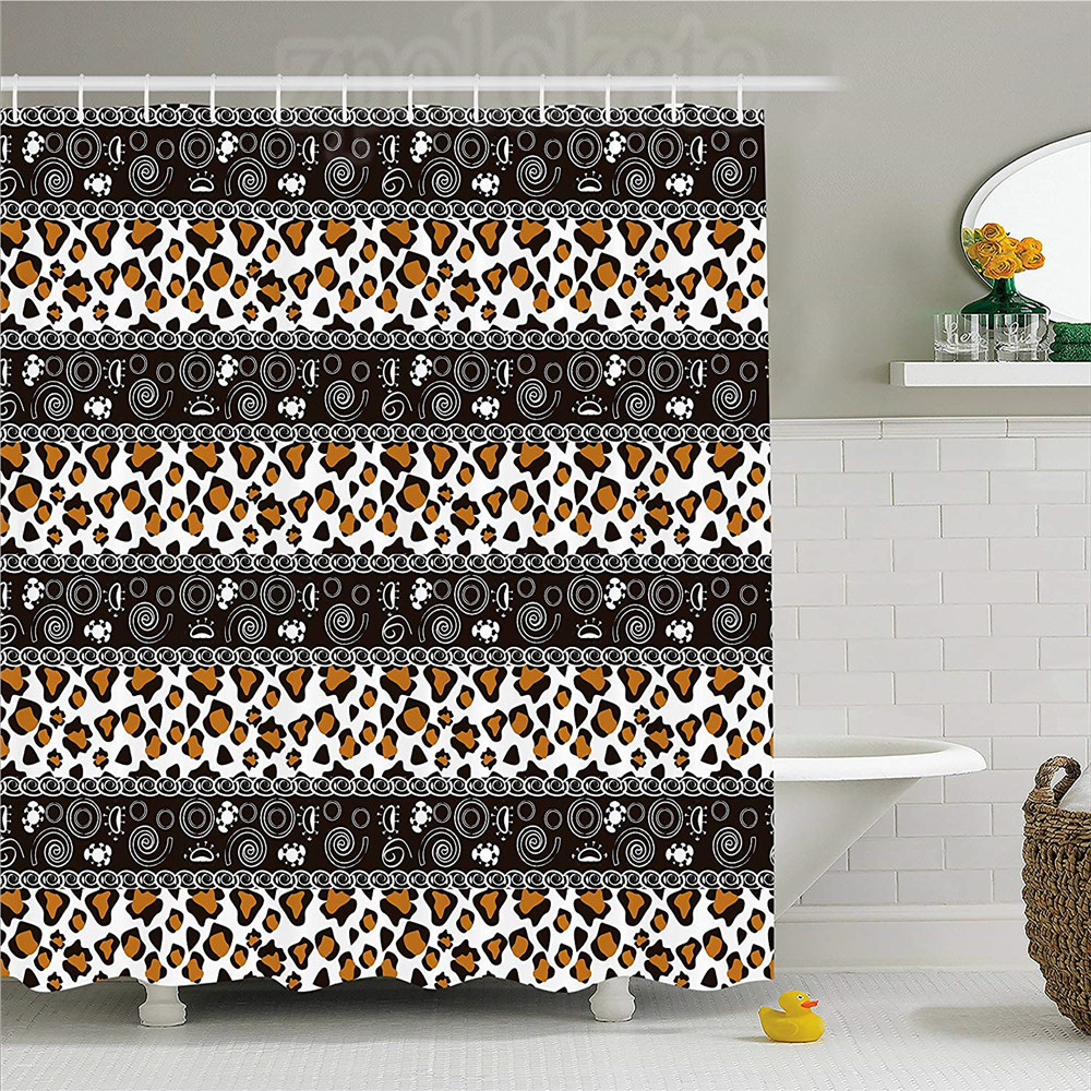 Zambia Shower Curtain African Cheetah Pattern With Circles Spiral Exotic Fur Zoo Safari Image Fabric Bathroom Decor Set With H Shower Curtains Aliexpress