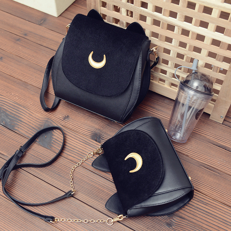 2018 New Korean Women Backpackr Sailor Moon Backpack Multifunction Black Luna Cat Ladies Backpack Two Use Back Pack