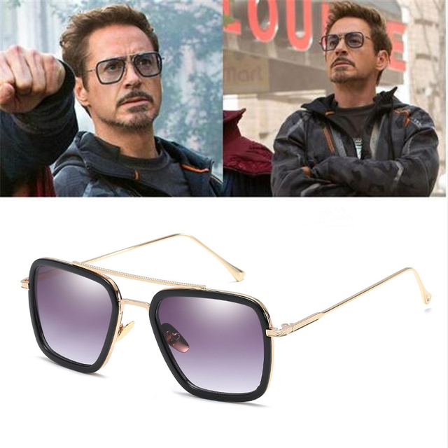 Infinity War Tony Stark Sunglasses Luxury Brand Iron Man Glasses Rectangle Vintage Superhero Sun Glasses Clear for Men oculos