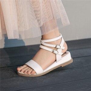 Image 5 - Smirnova 2020 dété nouvelles chaussures femme Décontracté sandales à talons compensés femmes talons en cuir véritable chaussures femmes boucle grande taille 34 43