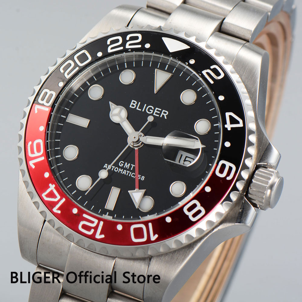 Sapphire Crystal BLIGER 43MM Black Dial Black Red Bezel GMT Function Luminous Marks Stainless Automatic Movement Men's Watch B23 цена