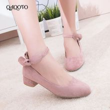 2019 Spring Autumn Faux Suede Women Shoes Sweet Bow Knot Pumps Square Low Heels Buckle Casual Shoes Beige Black Pink